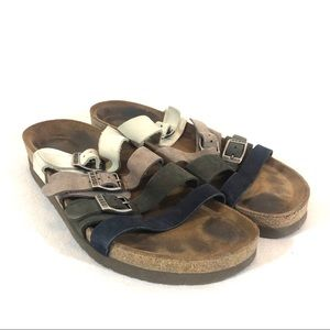 NAOT four color four strap sandals with buckles